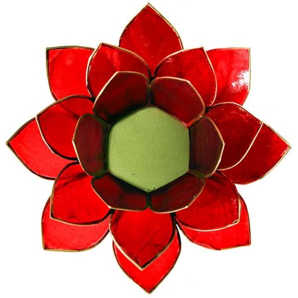 YOGISAN Teelichthalter Lotus Gold Chakra Red