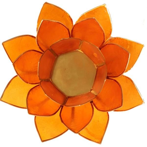 YOGISAN Teelichthalter Lotus Gold Chakra Orange