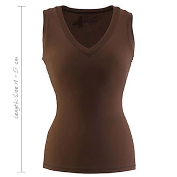 Curare Yogakleidung für Bikram Yoga Tank Top V-Neck #3 - Breath Brown, M