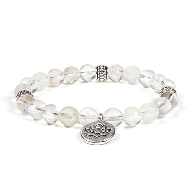YOGISAN Mala Armband Bergkristall mit Lotus