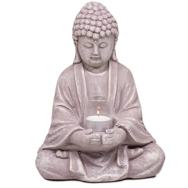 YOGISAN Buddha aus Zement mit Glas