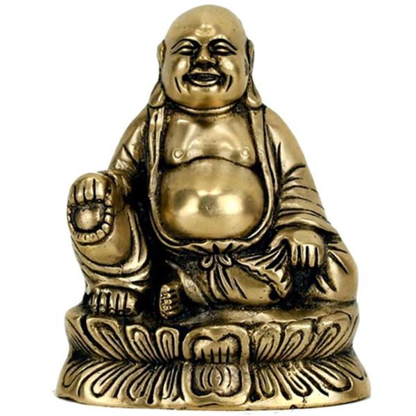 YOGISAN Lachender Buddha Messing Statue
