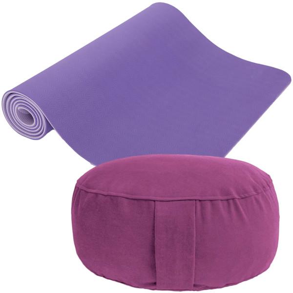 YOGISAN Yoga-Set Meditation (Yogamatte TPE + Lotus Kissen)
