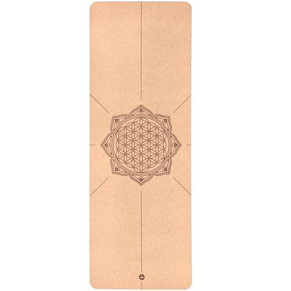 YOGISAN Yogamatte Kork Blume des Lebens