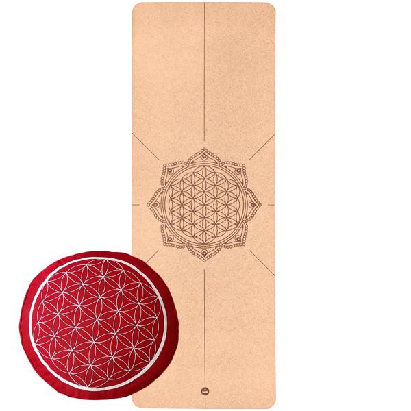 YOGISAN Yoga-Set Blume des Lebens (Yogamatte + Kissen)