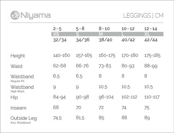 Niyama Größentabelle - Yoga Leggings, Pants & Shorts, die sitzen :)