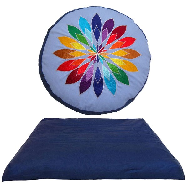 YOGISAN Meditationsset Meditationskissen Mandala Blue