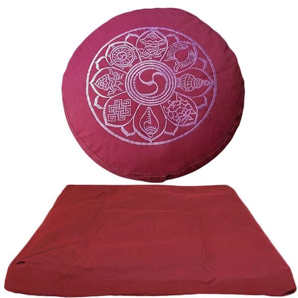 YOGISAN Meditationsset 8 Glück Symbole (Yoga Kissen + Zabuton)